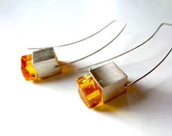 Baltic Amber Earrings , Sterling Silver Earrings , Modern Amber Jewelry.