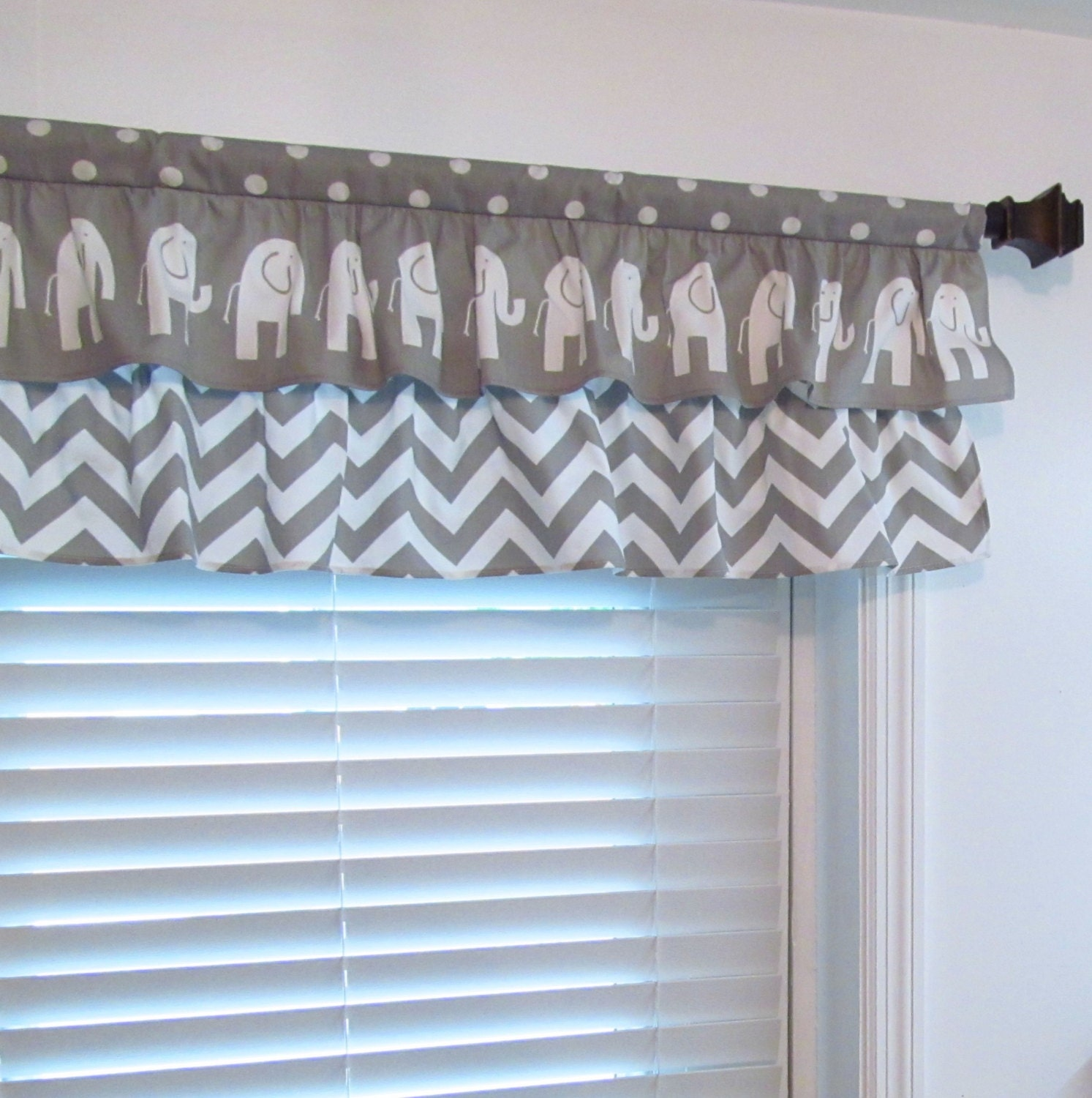 Pink and white polka dot curtains -  Curtain Elephant Chevron Polka Dot Gray Valance Zoom