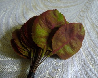 Vintage Rose Leaves German Millinery Bunch of 24 Green Plum Shaded NOS for Hats, Corsage, Head Bands Weddings Floral Arrangements Crafts