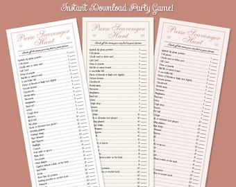 Pink Purse Scavenger Hunt Game for Bridal Showers, Baby Showers and Birthdays!