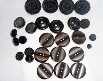 Buttons Lot of 25 Assorted Black Buttons