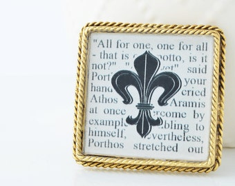Three Musketeers Brooch – Literature Jewelry – Fleur de Lis Jewelry – Literary Gifts -  Book Jewelry - Books - Literature