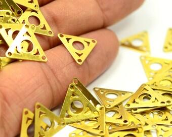 100 Pieces Raw Brass 15x13 mm Triangular Findings