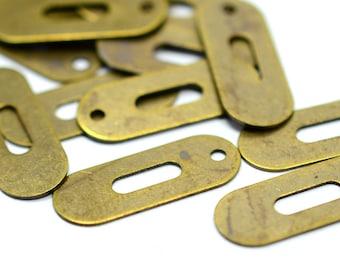 75 Pieces Antique Brass 7x18 mm Rectangular Oval Findings