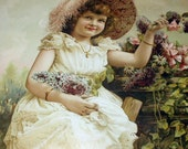 Victorian Girl In Flower Garden Picking Flowers Lilacs Cosmos Daisies Original Antique Chrome lithograph Framed Picture Print