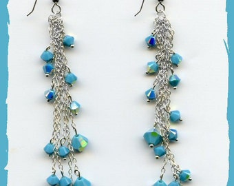 Swarovski Turquoise and Sterling Silver Chain Earrings
