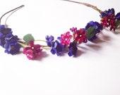 Fairy Woodland Wedding Blue and Burgundy Rose Pansy Flower Crown Wreath Headband Hair Accessories