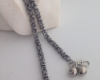 Chainmail wallet chain with warning bells, stainless steel chain mail walletchain, chainmaille wallet chain menswear jewelry made by misome