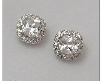 Pair of Square CZ halo stud wedding plugs for gauged or stretched ears: Sizes 4g 2g 0g 5mm 6mm 8mm