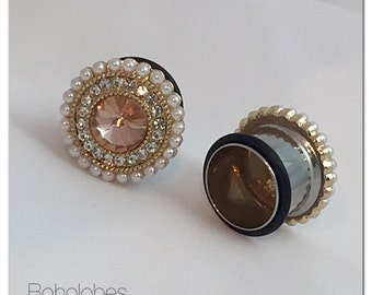 "Antique rose pink crystal pearl round plugs for gauged ears: 0g 00g 7/16"" 1/2"" 9/16"" 5/8"" 3/4"""