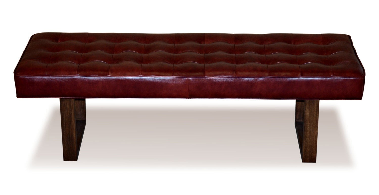 Retro modern merlot red genuine leather bench ottoman coffee table Red leather ottoman coffee table