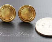 Round Gold Upcycled Retro Brass Button Earrings, Upcycled Gold Vintage Button Post Earrings, Upcycled Metal Button Stud Earrings