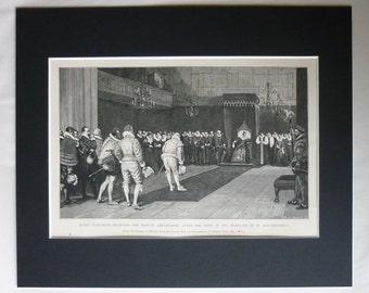 1880s Antique Historical Print, Victorian Art, Tudor Gift, William Frederick Yeames, Queen Elizabeth I, British History Picture, Throne Room