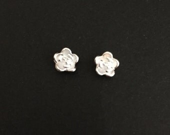 Tiny Sterling Silver Rose Studs. Rose Earrings. Silver Flower Earrings. Gift for Flower Girls. Wedding Earrings. Silver Rose Earrings.