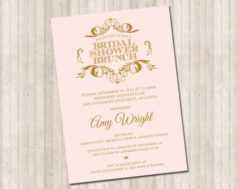 Bridal Shower Pink & Gold Scroll Invitation