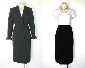 JUILLIARD 50s Suit Vintage Black Gabardine Outfit Classic Chic S to M Free Domestic and Discounted International Shipping