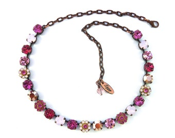 PINK LADY 8mm Crystal Chaton Necklace Made With Swarovski Elements, Flower Embellished, Siggy Jewelry, Gift For Her, Free Shipping!