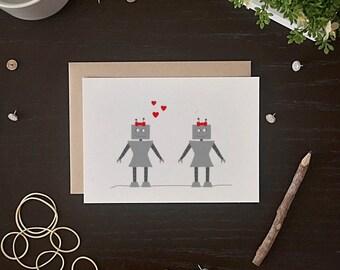 Valentine's Day Robot Card - Lesbian Valentine Card - Robot Anniversary Card - Robot Love Card