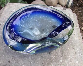 Mid Century Modernist Art Glass Ash Tray/ Bowl Blue Swirl Tobacciana