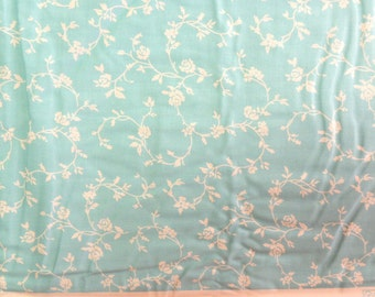 Aqua with White Rose Scroll for AE Nathan Co - 1 Yard