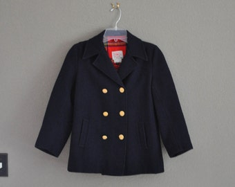 Children's Navy Pea Coat, Vintage, Size 12, Made in England