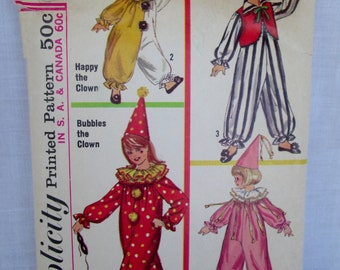 SALE~Vintage Simplicity Pattern #6198 CLOWN COSTUME Boy's and Girl's 1965 Printed Sewing Pattern w/ Instructions