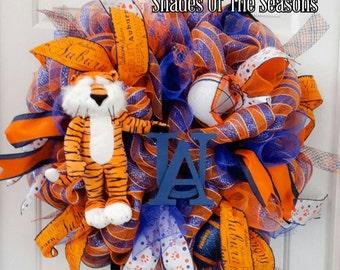 Auburn Wreath, Football Wreath, Aubie Wreath, College Wreath, Collegiate Wreath, Football Wreath