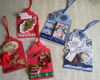 Handmade Christmas Holiday Gift Tags, Labels - Blue, Red, White, Green (Set of 5)