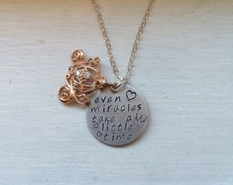 Cinderella necklace, even miracles take a little time, a dream is a wish your heart makes, pumpkin coach, cubic zirconia