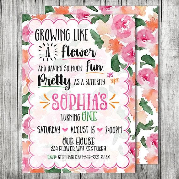 Butterfly Flower Garden Birthday Party Invite GARDEN Party