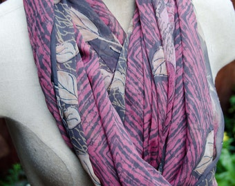 """Infinity Scarf-Loop Cowl- Loop Scarf Eternity Scarf   68"""" circumference 20"""" wide Soft and Light Muted Shades of Brown and Pink"""