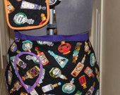 Witches Potions Halloween half apron and oven mitt