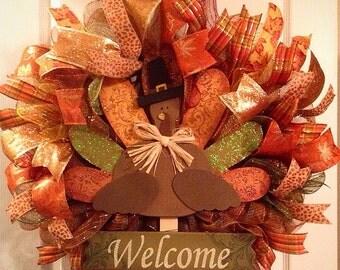 Thanksgiving Wreath/ Turkey Wreath/ Fall Wreath/ Fall Door Decor