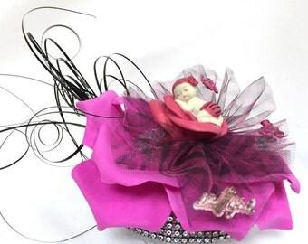 Baby Shower Zebra Print Baby on Flower Centerpiece Cake Topper
