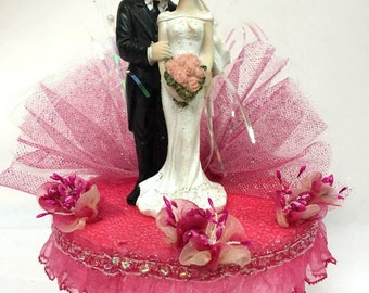 Bride and Groom Hot Pink Wedding Cake Topper or Centerpiece