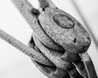 Nautical Coastal Photography - Detail of a Wooden Sailboat Pulley With Ropes, Sail Boat Photography, Beach House Decor, Marine, 8x10 photo