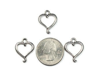 6 Antique Silver Elegant Open Heart Charms Double Sided
