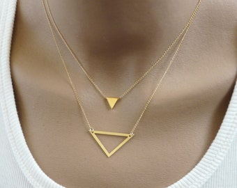 Triangle necklace, Layering necklace, Gold triangle, Geometric necklace, Modern necklace, Geometric jewelry