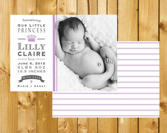 Printable Custom Birth Announcement, Front and Back Birth announcement, Little Princess Birth Announcement