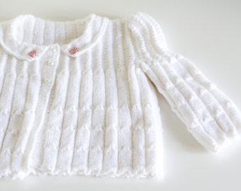 Knitted White Matinee Coat, Baby Sweater, Baby Coat, Baby Cardigan, Matinee Sweater, Infant Matinee Sweater, Baby Knits, Puffed Sleeves