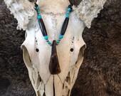 black and turquoise buffalo tooth choker, handmade native american spirit pendant, tribal powwow necklace, rendevous talisman, nomad
