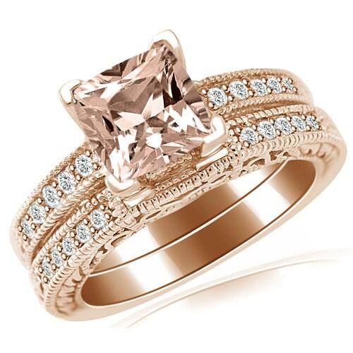 pink peach cushion morganite diamond matching engagement ring