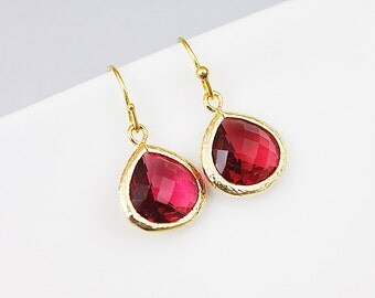 Ruby Red Glass Stone Dangle Earrings. Bridesmaid Earrings, Bridesmaid Gift .