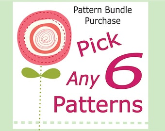 SAVE dollars with Bundle Deals --- choose any 6 children's pdf sewing patterns and tutorials for US42.00