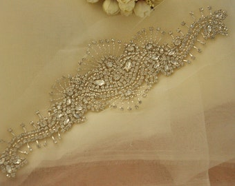 Super Luxurious Rhinestone Bridal Applique, Wedding Gown Beaded Crystal Applique,