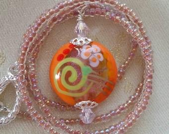 Orange & Pink Sparkly Necklace