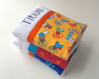 Personalized burp cloths, baby burp cloth, Retro robots, Personalized baby gift,