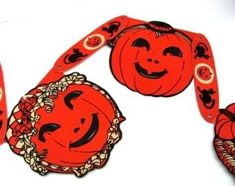Vintage Halloween Decor, 1940's Halloween Banner, Vintage Jack O' Lantern Banner, Cardboard Halloween Banner, 1940's Halloween Decor