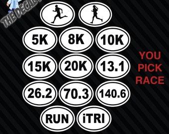 Oval Running Triathlon Decal 13.1 26.2 5k 8k 10k 15k 20k RUN iTRI 70.3 140.6 man