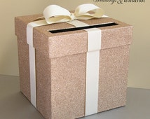"""Champagne and Ivory Wedding Card Box with Bow 9"""" w x 9"""" h-Choose your colors"""